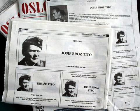 epa00704687 People in Sarajevo still remember communist leader Josip Broz Tito, who died on May 4, 26 years ago. Many Sarajevans publish ads in the local newspapers to pay respect to the former marshal, whose era is remembered as time of prosperity and good living in the former Yugoslavia.  EPA/FEHIM DEMIR