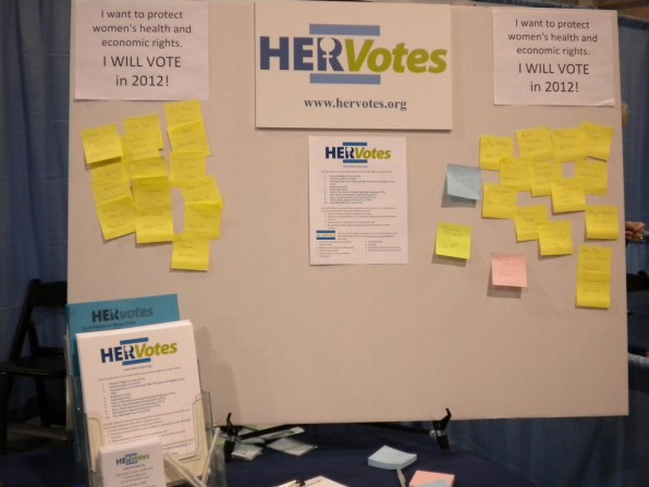 HERVotes display, collecting pledges to vote in 2012