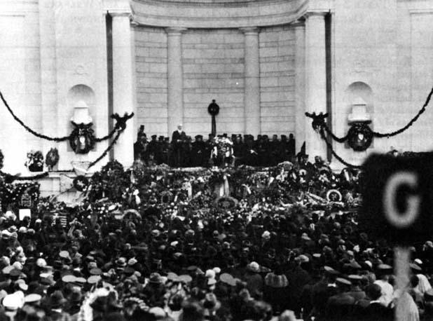 Photo: President Harding speaks at Memorial Amphitheater Service.