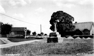 Postcard of Charney, Chequers pub sign, Smithy, and village cross. No date.