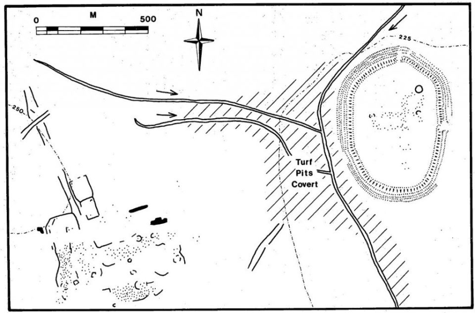 "Charney Bassett: Cherbury Camp and ""Open Settlement"" (contours at 25 feet intervals)"