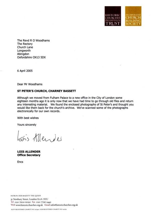 Historic Churches Preservation Trust Letter