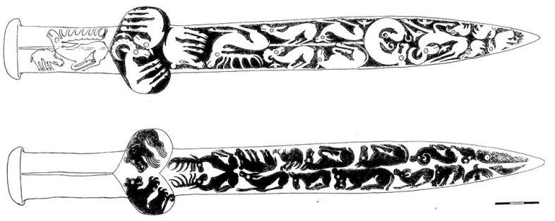 Бронзовый кинжал-акинак с гравированными изображениями животных