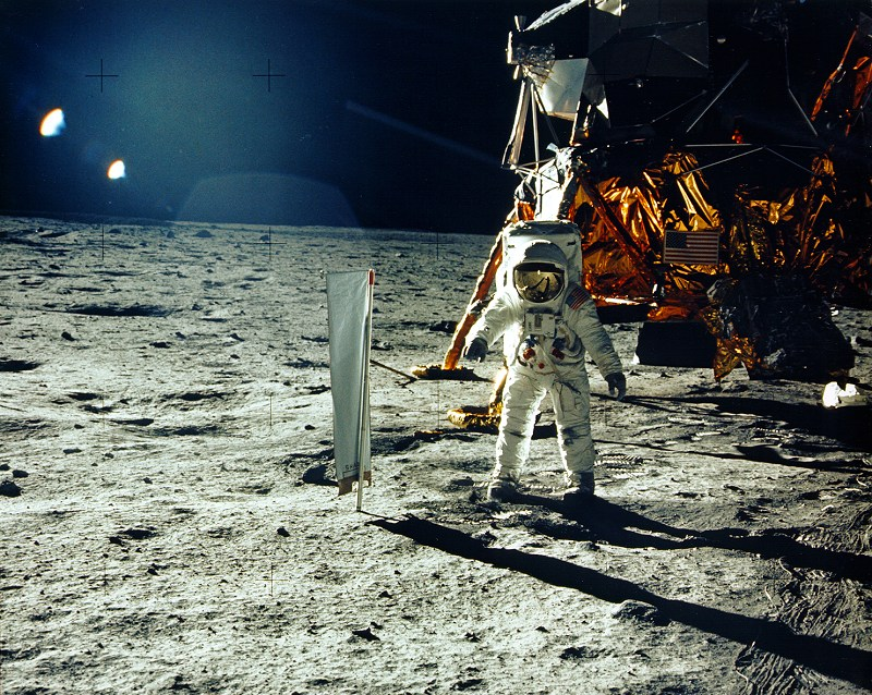 Apollo 11:  Astronaut Buzz Aldrin beside the solar wind experiment. NASA photo