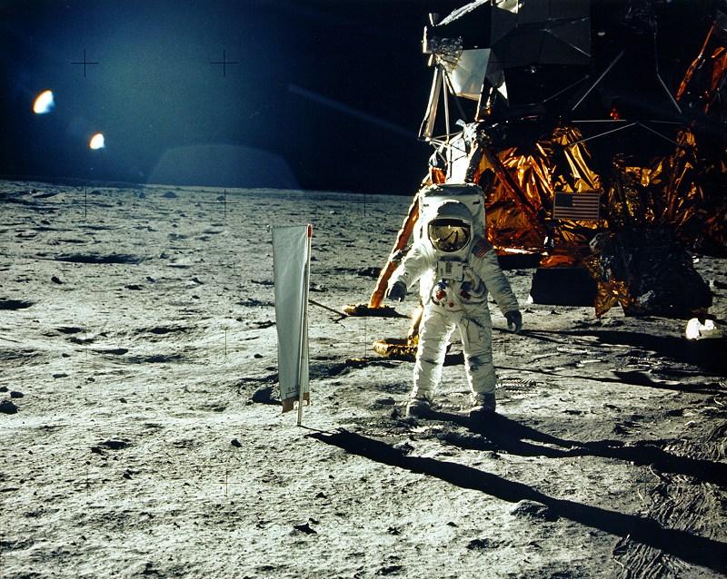 Apollo 11:  Astronaut Buzz Aldrin beside the solar wind experiment. NASA photo