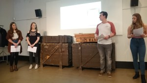 Hannah Coulouras, Jessica Harper, Phillip Gerrish and Katy Hodges presenting their findings to visitors at Portsmouth City Museum.