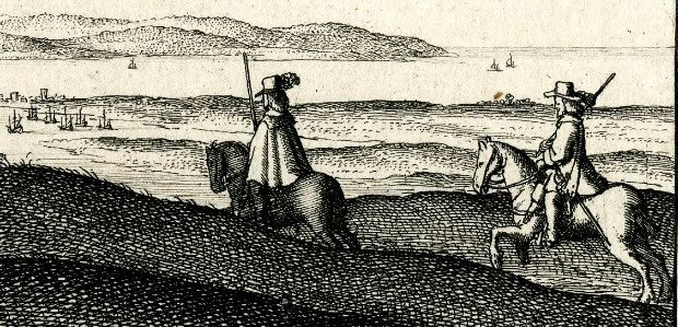 View of Portsmouth and the Isle of Wight, etching by Wenceslas Hollar, 1643, British Museum Print Q, C.100