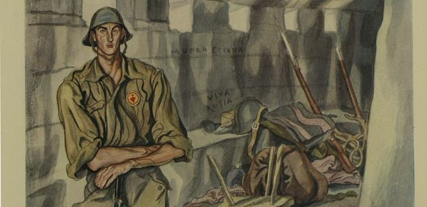 """""""One of the Spaniards Fighting Their Own Battles: A Nationalist Soldier on the Santander Front in a Captured Concrete Dug-Out with 'Marxist' Inscriptions—'Death to Spain! ' and 'Long Live Russia'."""" Illustrated London News, 20 Nov. 1937, p. 893. The Illustrated London News Historical Archive, 1842-2003, http://tinyurl.galegroup.com/tinyurl/6YJha8."""