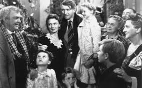 Final scene from It's a Wonderful Life showing everyone celebrating Christmas.