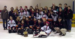 EGRT Tween A Champions, N.W. Impulse and the silver medal winners, Burlington Blaz'n Bluettes who were their adopted team for the weekend