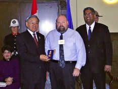 The award was presented by Shiraz Shariff and Norman Kwong, Lt Governor of Alberta.