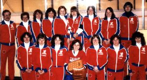 1981-1982 Deb Rep Team - Calgary Chinooks Back Row (L to R) - Andy Jones (coach), Mardelle Boutin (manager), Bev Jones, Marlayne Boutin, Shelley Brost, Liz Speers, Debbie Delooze, Beth Little, Bob Veale (ass't coach) Front Row (L to R) - Linda Tippin, Sue Croswell, Dana Dane, Yvonne Fischer, Debbie Cramm, Lucie Anne Ingoldsby, Diana Dane.