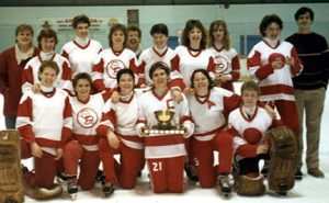 Calgary Debs 1984-85 Provincial Champions (attended the Canadian Ringette Championships in Montreal representing Alberta) Back Row: Laura Webb, Paula Long, Jackie Willis, Leanne Henderson, Mardelle Boutin, Carmen Bell, Sue Chudleigh, Cara Brown, Marlayne Brandsgard, Bob Veale Front Row: Maureen Hans, Wendy Cowie, Laurie Moore, Linda Tippin, Beth Little, Laurie Smith