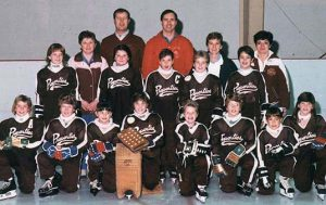 PROPERTIES NOVICE RINGERS 1987-88 Front Row: Christy Press, Vicky Holtbu, Kristy Schmaltz, Bonnie Gailbraith, Jodi Rainey, Linda Holtbu, Melissa Collette, Shannon Cross Middle Row: Kery Long, Kari Sirup, Jamie Rainey, Jodi Jensen, Jennifer Turner Back Row: Nellie Schmaltz (Secretary), Paul Jensen (asst Coach), Paul Rainey (Coach), Marlene Jensen (Manager), Vivian Turner (Treasurer)