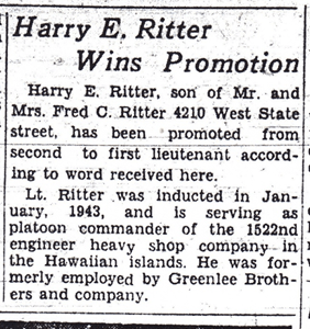 Harry E. Ritter Wins Promotion