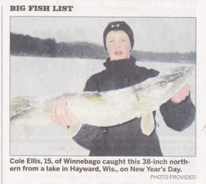 Cole Ellis, 15, of Winnebago caught this 38-inch northern from a lake in Hayward, Wis., on New Year's Day