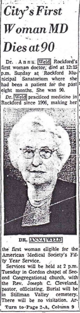 Dr. Anna Weld obit -1 pic