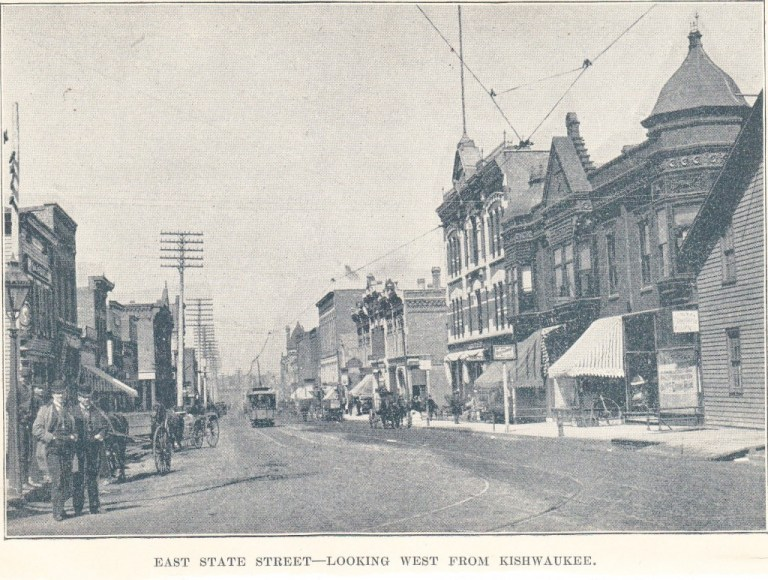 East State St. looking w fr Kish