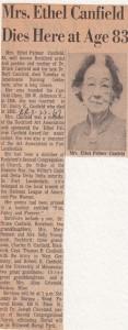 Ethel Canfield obituary, 1967