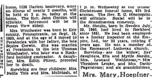 Remainder of Esther Winchester's obituary