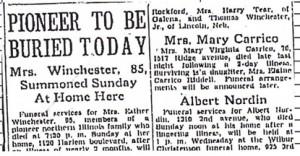 Esther J. Winchester obituary, 1936