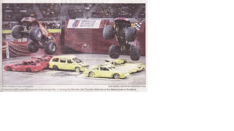 El Matador (left) races Medusa over a row of cars Feb. 11 during the Monster Jam Thunder Finals At the MetroCentre in Rockford. Max Gersch RRStar Feb 17, 2011