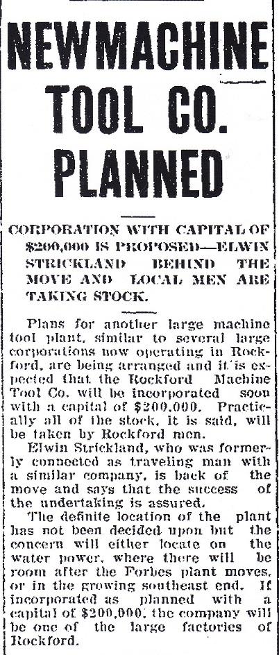 Rockford Machine Tool Co. - 1907