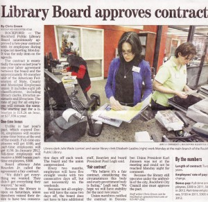 Rockford Public Library Board Approves Contract With Workers, 2011