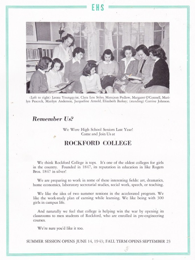 Rockford College 1943 ad