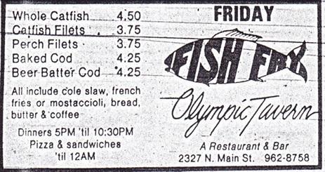 Olympic Tavern Fish Fry Ad