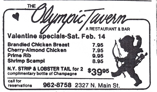 Olympic Tavern Valentine Specials ad