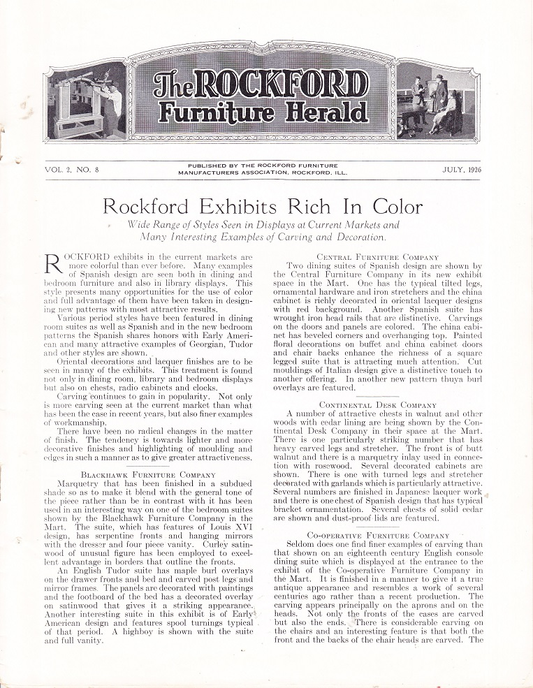 Source: Rockford Furniture Herald, July 1926, Vol. 2, No. 8 Page 3 Above