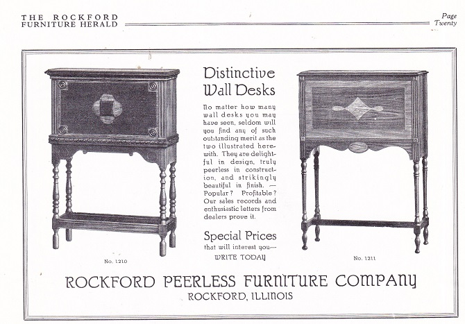 Awesome Rockford Peerless Furniture Co., Ad   Oct 1926, Wall Desks