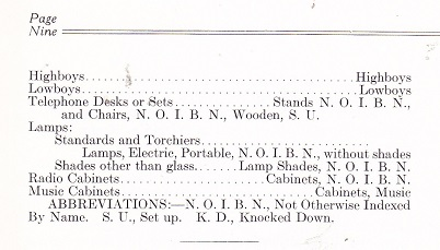 Bill Of Lading Descriptions For Furniture March 1927