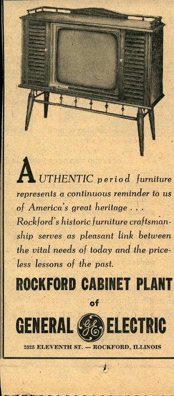 Rockford Cabinet Co, Plant Of General Electric, Ad U2013 1962