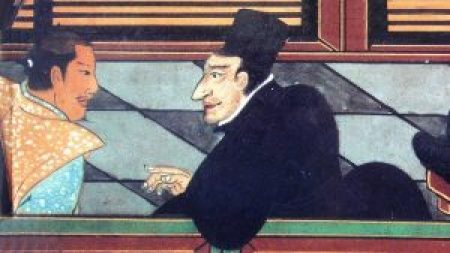 painting of Jesuit with Japanese noble