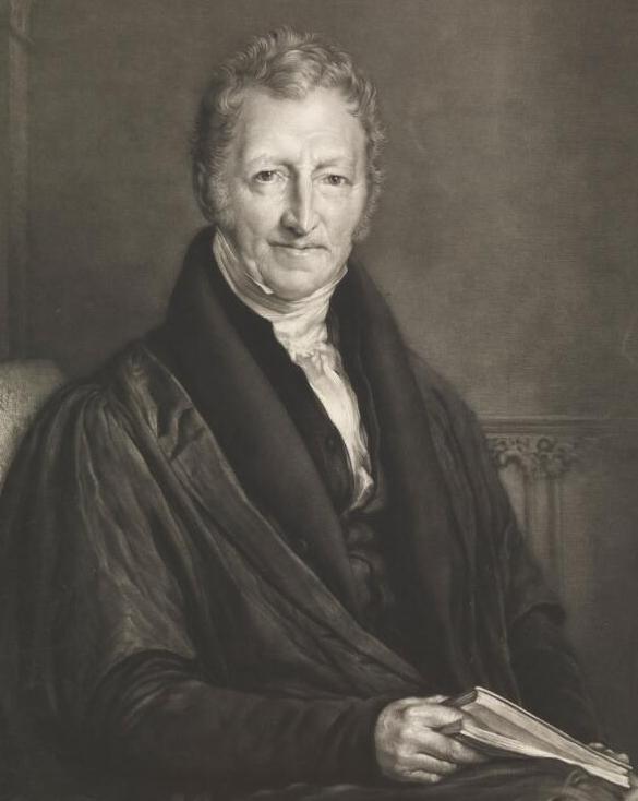 Black and white portrait of Thomas Robert Malthus, 1834