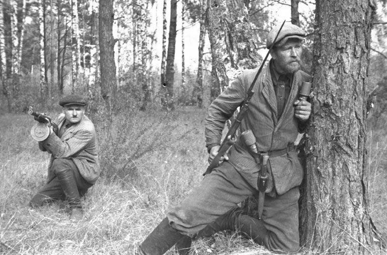 Soviet guerilla forces operating inside Belarus. Referred to as 'bandits' by the SS high command, very often these fighters only made up the minority of victims of SS 'bandit' operations