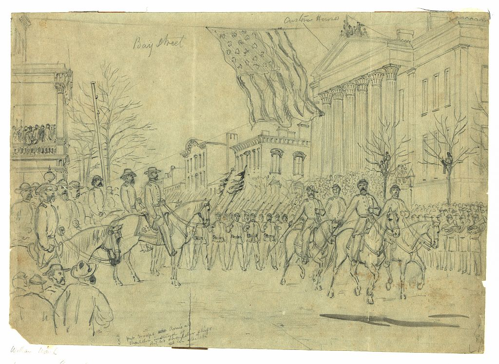 General Sherman on horseback reviews a military parade in front of the Customs House, Savannah.