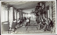 The veranda, Jasper Park Lodge. Photographed and Copyrighted by F.H. Slark, Jasper Alberta, before 1927. peel.library.ualberta.ca/postcards/PC008089.html
