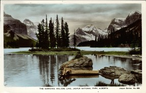 The Narrows, Maligne Lake, Jasper National Park, Alberta. Vancouver: Published by The Camera Products Co., 1731 Dunbar Street, Vancouver, B.C, circa 1930. peel.library.ualberta.ca/postcards/PC014529.html