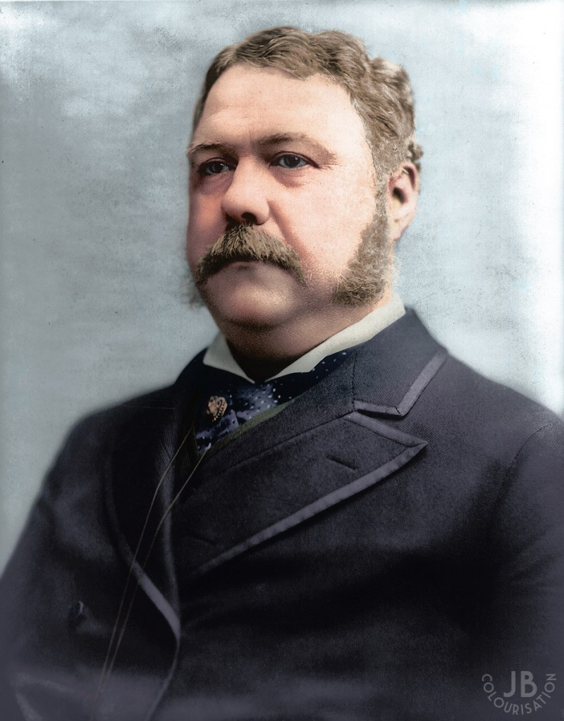 President Chester A. Arthur wearing a suit, looking to the side. The photograph has been colorized.