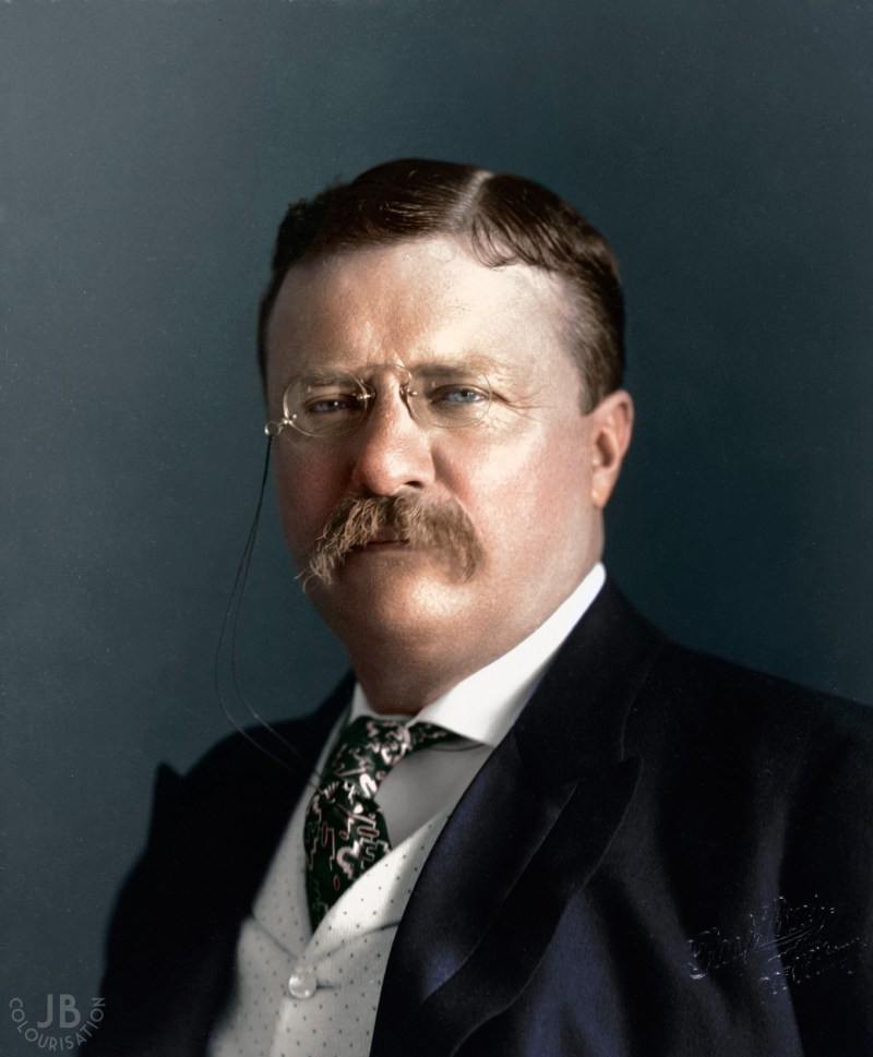 Headshot of Theodore Roosevelt in color. the photo has been colorized.