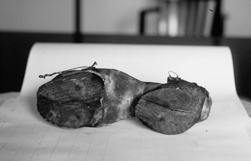 A side angle of the Cow Shoes used by moonshiners to disguise their footprints from the police, June 28th, 1924.