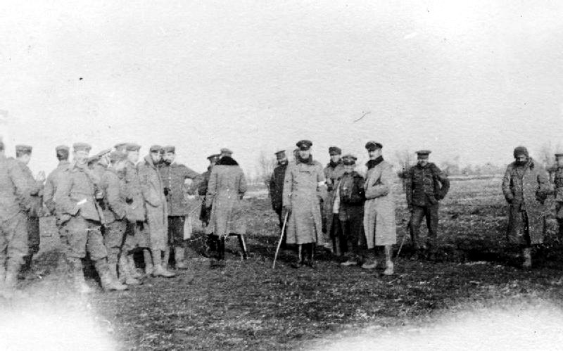 British and German soldiers photographed together in no mans land during the Christmas truce