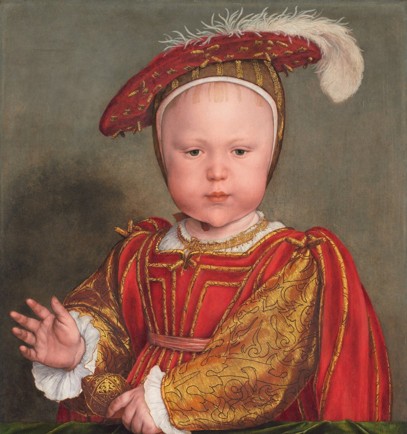 painting future tudor king, Edward VI at around the 2. He is wearing red and golden clothes with a feather hat showing extreme wealth.