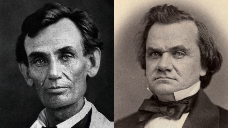 Two photographs of Abraham Lincoln and Stephen Douglas in 1858/1859. The year of the famous Lincoln-Douglas debates.
