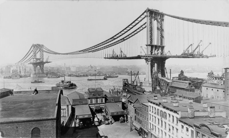 Photographs of the Manhattan Bridge under construction. You can see the layout of the bridge but there is still a lot to build. March 23 1909.