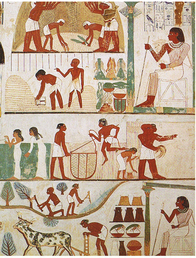 Ancient Egypt tomb relief in the Tomb of Nakht