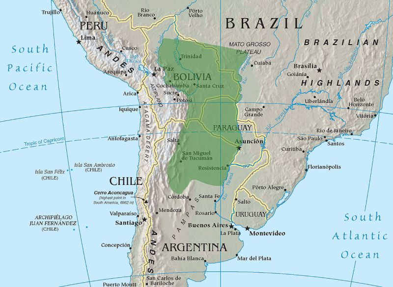Very approximate location of the Gran Chaco (Underlying map taken from the CIA World Factbook)